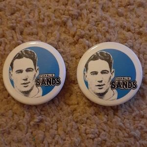 Two Metal Charlie Sands Buttons - Blue and White